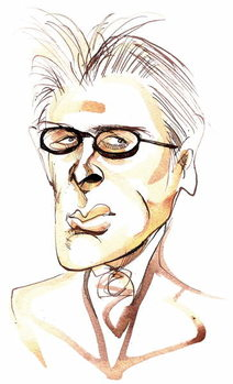 William Butler Yeats Irish poet and playwright ; caricature Kunstdruck