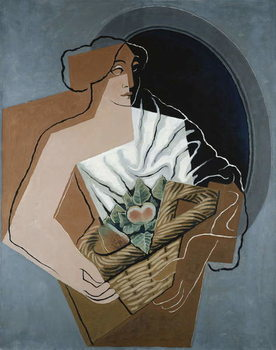 Woman with Basket Kunsttryk