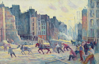 Work in the Rue Reaumur, 1906-08 Reproduction de Tableau