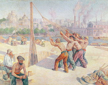 Workers on the Quai de la Seine at Billancourt, 1902-3 Reproduction de Tableau