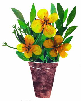 yellow plant pot Kunstdruck