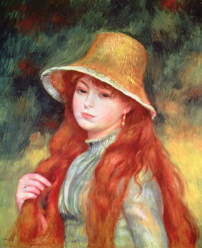 Reproducción de arte Young girl with long hair, or Young girl in a straw hat, 1884
