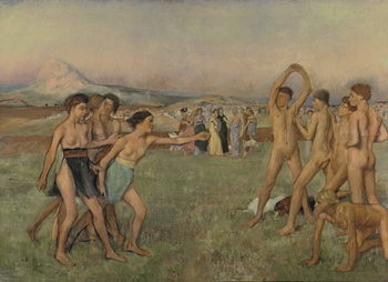 Young Spartans Exercising, c.1860 Kunstdruk