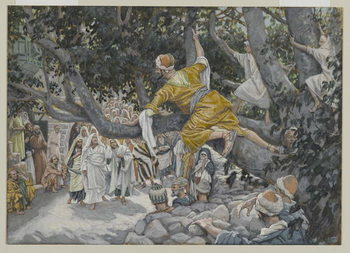 Zaccheus in the Sycamore Awaiting the Passage of Jesus, illustration from 'The Life of Our Lord Jesus Christ', 1886-96 Reproduction de Tableau