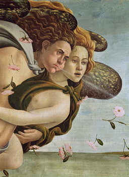 Zephyr and Chloris, detail from The Birth of Venus, c.1485 (tempera on canvas) Kunstdruck