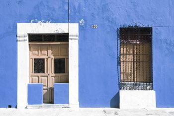 Umělecká fotografie  130 Street Campeche - Blue Wall