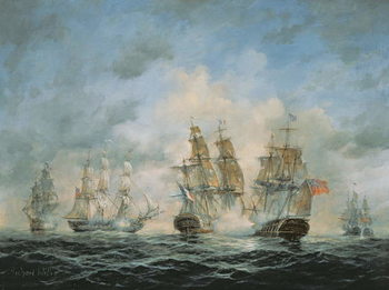 19th Century Naval Engagement in Home Waters Kunstdruk