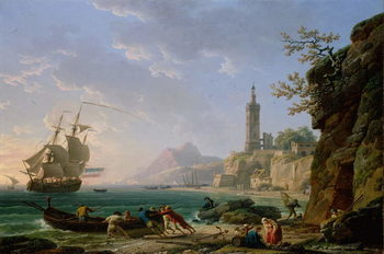 Reprodukcja A Coastal Mediterranean Landscape with a Dutch Merchantman in a Bay