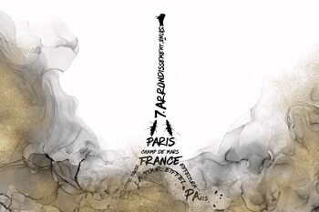 Ilustración ALCOHOL INK Eiffel Tower Typography