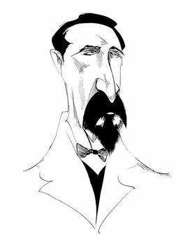 Konsttryck Alexander Borodin, Russian composer  , b/w caricature