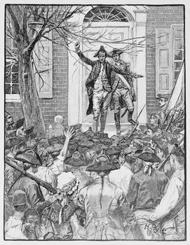 Reproducción de arte Alexander Hamilton Addressing the Mob, illustration from 'King's College' by John McMullen, pub. in Harper's Magazine, 1884