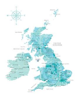 Mapa Aquamarine watercolor map of the British Islands