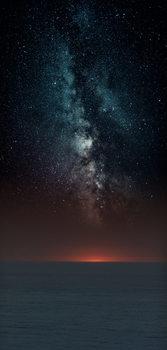 Φωτογραφία Τέχνης Astrophotography picture of sunset sea landscape with milky way on the night sky.
