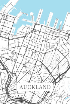 Mapa Auckland white