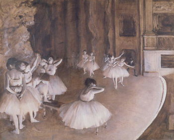 Reproducción de arte  Ballet Rehearsal on the Stage, 1874