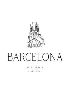 Illustrazione Barcelona coordinates with Sagrada Familia temple