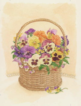 Basket of Pansies, 1998 Reproduction d'art