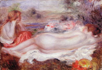 Bather reclining and a young girl doing her hair, 1896 Kunstdruck