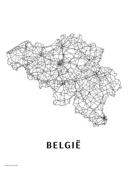 Mapa Belgie black & white