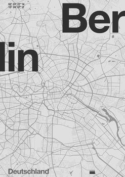 Berlin Minimal Map Kunstdruk