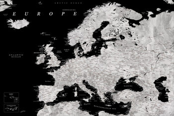 Карта Black and grey detailed map of Europe in watercolor