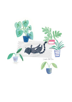 Ilustrace Black cat on grey scandi rug