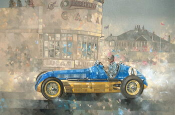 Kunstdruck Blue and Yellow Maserati of Bira