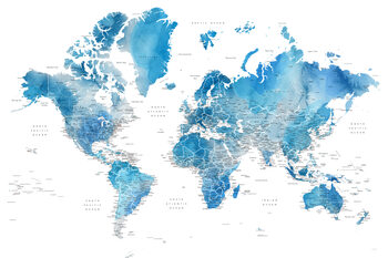 Mapa Blue watercolor world map with cities, Raleigh