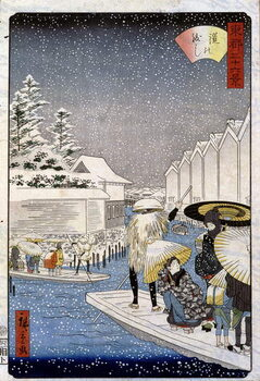 Umelecká tlač Boats under the snow, Japan - Hiroshige