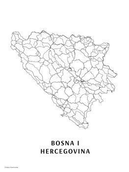 Mapa Bosna a Hercegovina black & white
