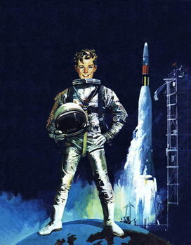 Kunsttryk Boy in space outfit