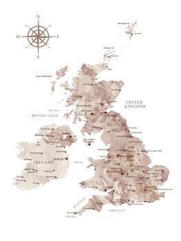 Mapa Brown watercolor map of the British Islands