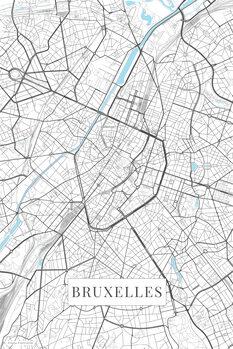 Mapa Bruxelles white
