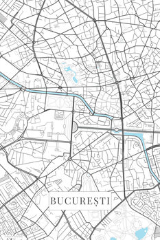 Mapa Bucuresti white