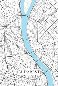 Mapa Budapest white