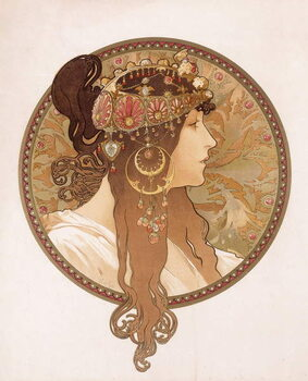 Kunstdruk Byzantine head of a brunette; Tete byzantine d'une brunette