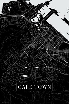 Mapa Cape Town black