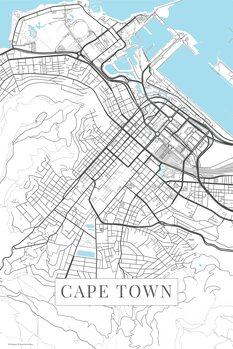 Mapa Cape Town white