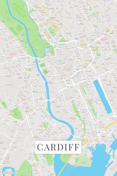 Mapa Cardiff color