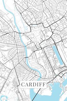 Mapa Cardiff white
