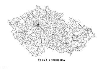 Mapa Česká republika black & white
