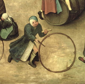 Children's Games (Kinderspiele): detail of a child with a stick and hoop, 1560 (oil on panel) Kunstdruk