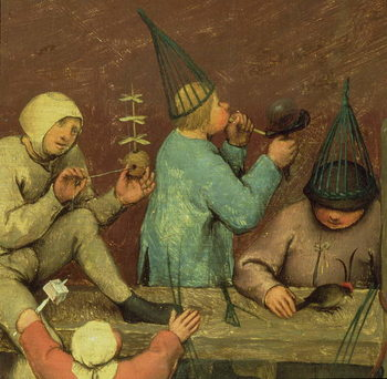 Children's Games (Kinderspiele): detail of left-hand section showing children making toys and blowing bubbles, 1560 (oil on panel) Kunstdruk