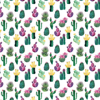 Illustrazione Colorful painterly cacti