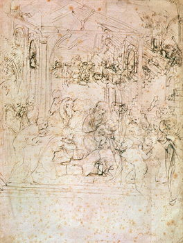 Composition sketch for The Adoration of the Magi, 1481 Reproduction de Tableau