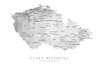 Mapa Czech Republic (gray watercolor)
