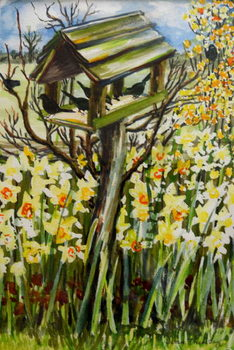 Konsttryck Daffodils, and Birds in the Birdhouse, 2000,