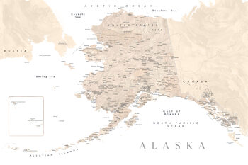 Carte Detailed map of Alaska in neutral watercolor