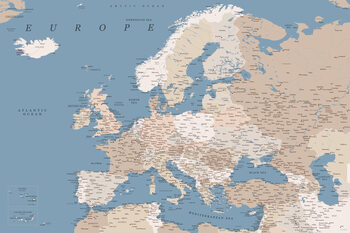 Stadtkarte Detailed map of Europe in blue and taupe
