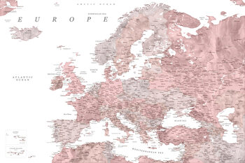 Mapa Detailed map of Europe in dusty pink and grey watercolor